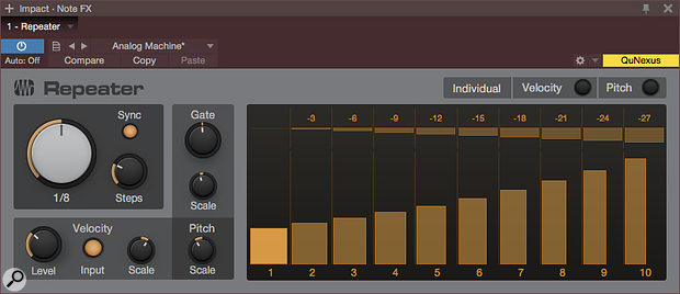 Screen 3: Since individual velocity and pitch are both disengaged, each step would have the same velocity and pitch offset but for the Scale controls. The Velocity Level control has been set to the lowest desired velocity, and the Scale control is set to create a  crescendo. Meanwhile, Pitch Scale has been set to make each step a  lower pitch. Note that low Scale values are used: for instance, velocity Scale is at 112 percent.