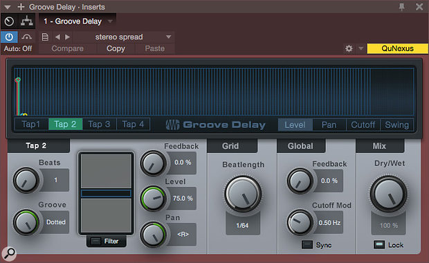 Screen 1: Groove Delay can be made to work for widening a guitar into stereo by setting two taps to their shortest range and then sliding one a little ahead or behind the other, but delay times are tempo-dependent. Tap 2 settings are shown here: note how the Groove control is set to Dotted.