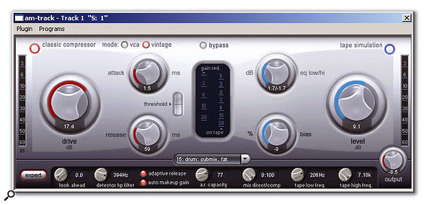 The Amtrack plug-in is a flexible compressor and tape-simulation effect.