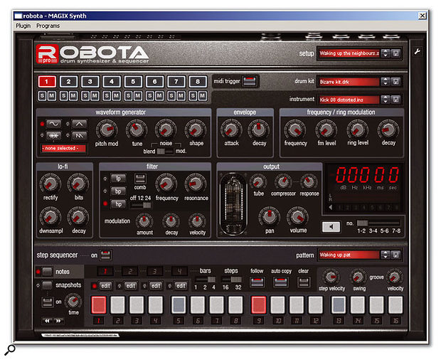 The Robota Pro drum machine is new in version 8 of Samplitude.