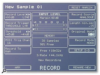 Typical sampling input parameters, from the display of an Akai hardware sampler.