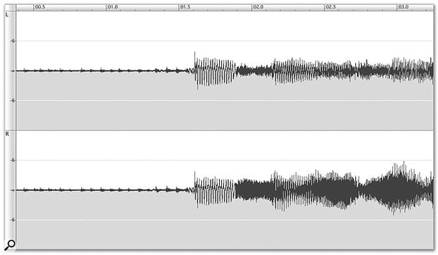 A section of stereo digital audio prior to normalisation. The loudest point is clearly visible in the Right channel at just past the three-second mark, but it's some way from being at maximum.