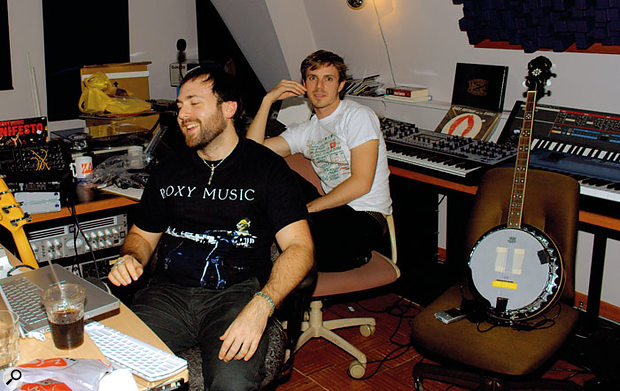 Babydaddy (Scott Hoffman, left) and Jake Shears of Scissor Sisters in their new Discoball Jazzfest studio.