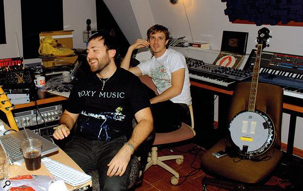 Babydaddy (Scott Hoffman, left) and Jake Shears of Scissor Sisters in their new Discoball Jazzfest studio.