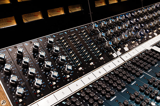 The 1975 API console is loaded with 24 channels of 550A, 550B, 554 and 560 EQ modules.