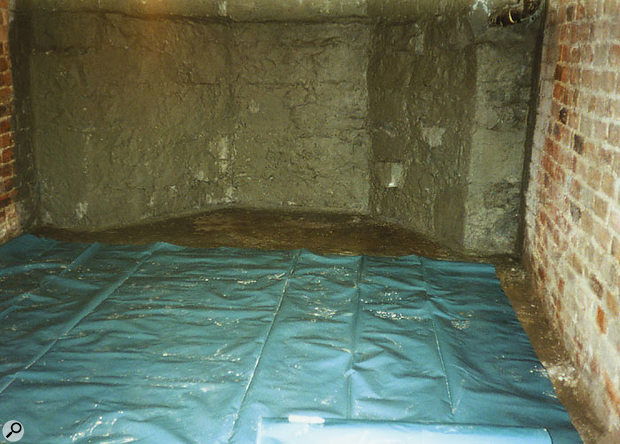 One way of preventing damp rising through the floor of a basement studio is to lay a polythene damp-proof course, as Iain Grant did to create the Readerzone studio featured in SOS April 2001.