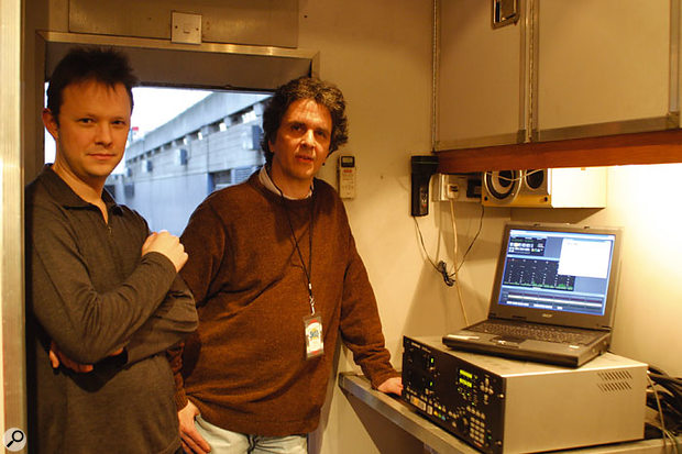 Engineer Mark Linett (right) and Genex operator Simon Burgess in the mobile recording truck outside the Royal Festival Hall, London, February 21st 2004, preparing to record the second night of sold-out live SMiLE performances. The Genex GX9048 hard disk recorder on the right was used to make all the 48-track live recordings, which are destined for use on a SMiLE documentary, to be screened in late 2004.