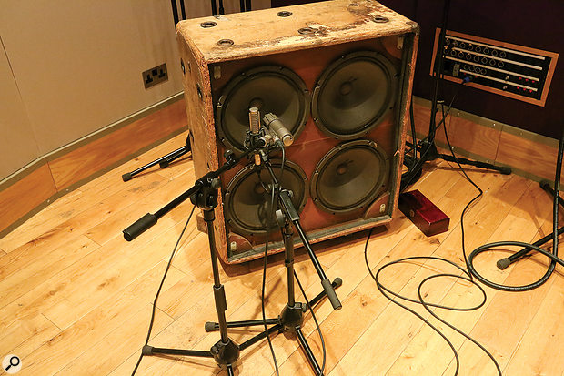 Two different guitar cabs, placed in different rooms, were used to help build a more complex sound.