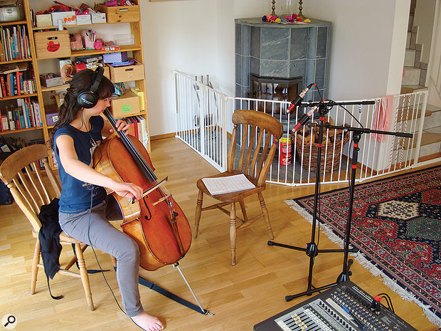 Following a series of test recordings, here's the dual-mic setup Mike settled on to capture some cello overdubs in a medium-sized domestic living room. The mics are Avantone Pro's small-diaphragm CK1 condensers, with their cardioid capsules fitted.