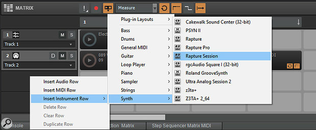 It's possible to insert instrument tracks in the Matrix View, not just audio and MIDI tracks.