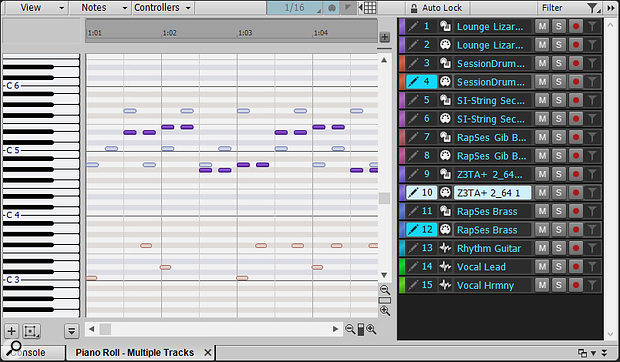Screen 1: The revamped Track Pane makes it more of a control centre for operations that extend beyond MIDI.