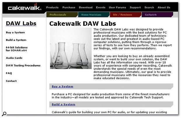 Cakewalk's DAW Labs Guide: reliable info about computers and digital audio.