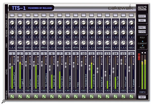 The visuals are those of a 16-channel mixer, but it's really an interface for up to 16 instruments. Additional windows allow fairly extensive editing.