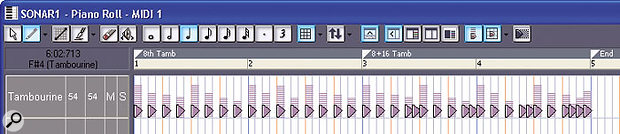Two patterns, separated by markers, have been created. Once this is saved as a Standard MIDI File into the Pattern Brush Patterns folder, you'll be able to paint the patterns into the Piano Roll or Drum Grid view.