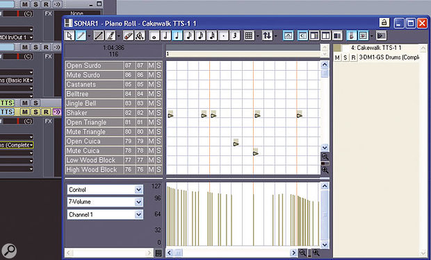 Where you'd normally see a key in the Piano Roll view, the Drum Grid shows a drum name and data about each drum. Note the controller strip below the main pane.