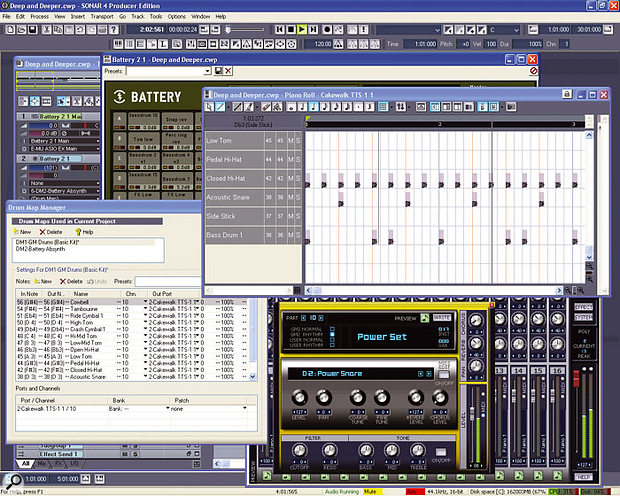 Sonar's drum-programming features, centred around the Drum Grid (top right) and the Drum Map Manager (bottom left) are well worth investigating.