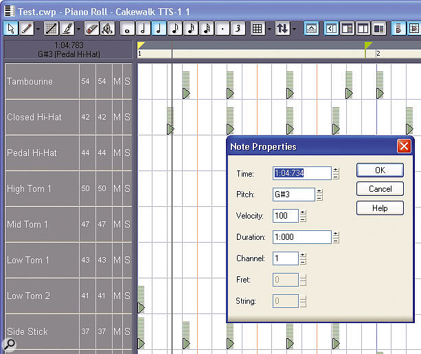 This shows a typical use of the Drum Grid: developing a looped beat. Note the velocity tails on each note. Right-clicking on one of the notes has brought up the Note Properties menu, which allows 'micro editing' of the note's parameters.