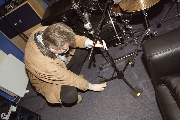 Foam was fitted around the snare mic to reduce spill, and more foam was used to isolate some of the mic stands from mechanical vibrations, as none of the mics used had proper shockmounts.