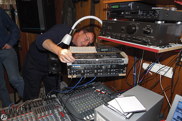 Peter's host-based reverb processing was letting his mix down, so Hugh suggested that he should plumb his Alesis Midiverb into the system, fed from an output of the computer's audio interface and returned to the mix via the  Allen & Heath analogue mixer.