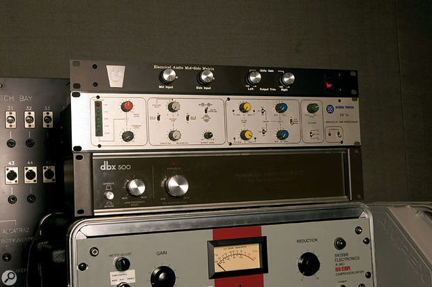Some of the more unusual rackmounting gear at Electrical Audio: from top, custom-built mid/sides matrix, Klark-Technic DN34 'Analogue Time Processor', Dbx 500 subharmonic generator and Skibbe 5-9C compressor.