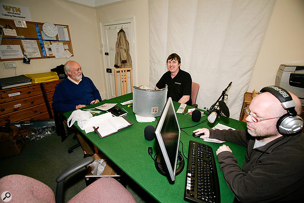 John Richards (left) , Paul White (centre) and Simon Applebaum (right) trying out some new mic positions at the Winchester Talking News headquarters.