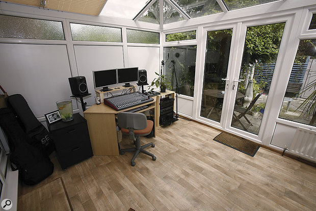 The Studio SOS Team arrived to find that the studio control room took the form of aglass and PVC conservatory: bass energy wouldn't be aproblem, because much of it would pass through the thin glass, but high‑frequency reflections would have to be dealt with...