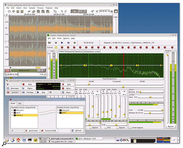On the Studio To Go desktop, Sweep plays a stereo track into the Jamin mastering tool via JACK.