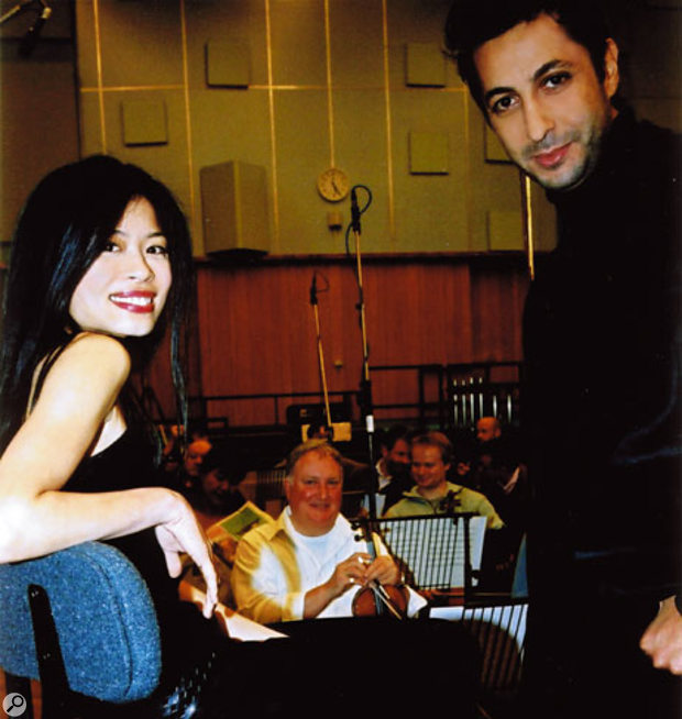 Vanessa-Mae and Walter Taieb at Abbey Road during the recording of Choreography with the Royal Philharmonic Orchestra.