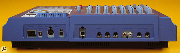 The DP01 and DP01FX have identical rear-panel facilities, including digital-audio, MIDI, and USB connections.