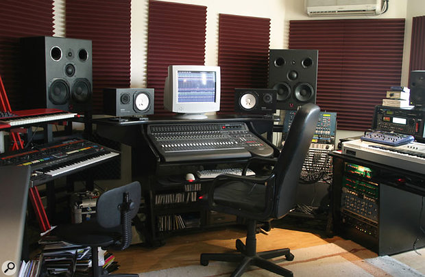 Although much mixing can be done on small nearfields such as the Yamaha NS10s, larger monitors are required to make critical judgements about the low bass regions of the mix — Darren uses the Quested 3208s for this purpose.