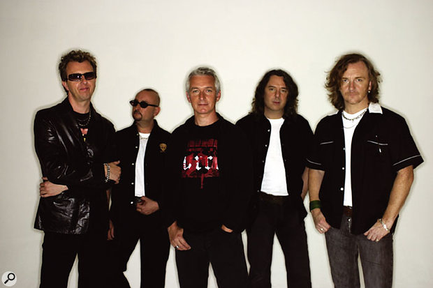 Thunder: from left, Chris Childs (bass), Harry James (drums), Danny Bowes (vocals), Ben Matthews (guitars and keyboards), Luke Morley (guitars).