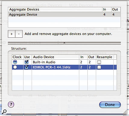 The Aggregate Device Editor sheet in Audio MIDI Setup enables you to configure Aggreate Devices. The upper list details the available Aggregate Devices, where you can create new or remove existing Devices, while in the lower part of the sheet you can configure the Structure of the currently selected Aggregate Device.