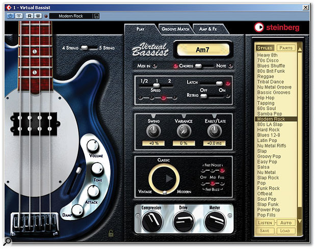 Virtual Bassist in action within Cubase SX. This is the Play page. Note the five-string option at the top on the left, which provides some extra low end if you want it.