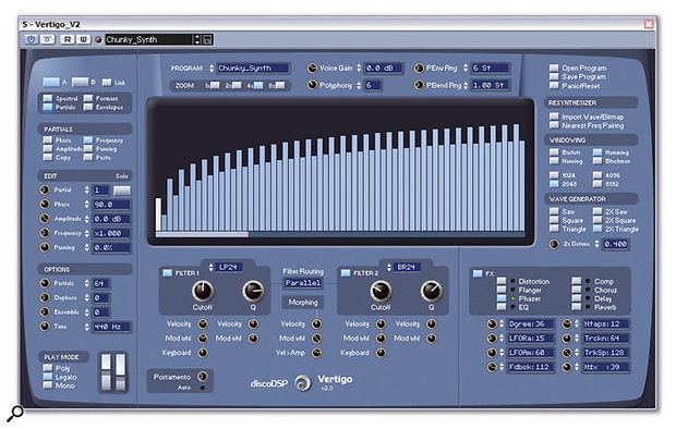 Vertigo's Partial Edit section, here shown using the '2X Detune' function to simulate a traditional two-oscillator synth tone.