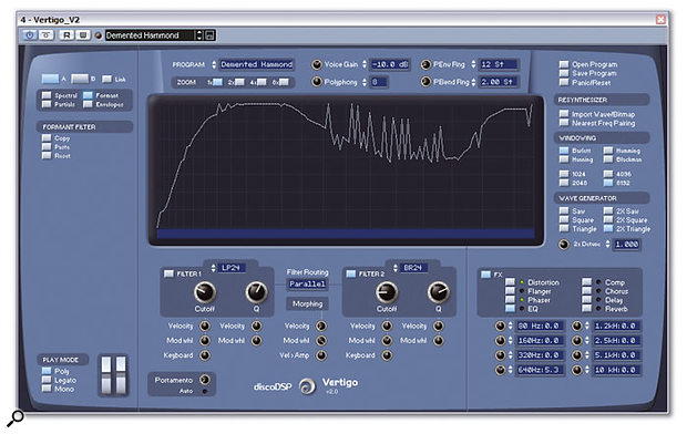 Vertigo provides a 128-band formant filter, along with two traditional multi-mode types, which can be used in parallel or in series.