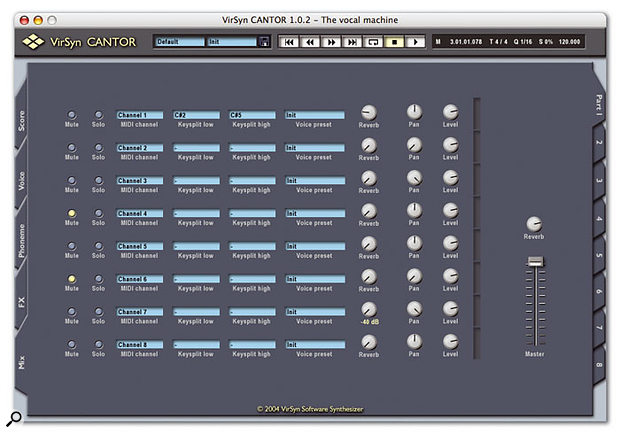 A simple mixer allows you to adjust the level, pan and reverb send for each of the eight monophonic voices in an instance of Cantor, and to specify which MIDI channel they will respond to.