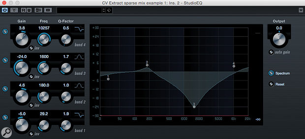 With the M-S method, the 'mid-only' track may require pretty detailed EQ'ing to strike the optimum balance between reducing the vocal level and retaining the character of other elements in the centre of the mix.