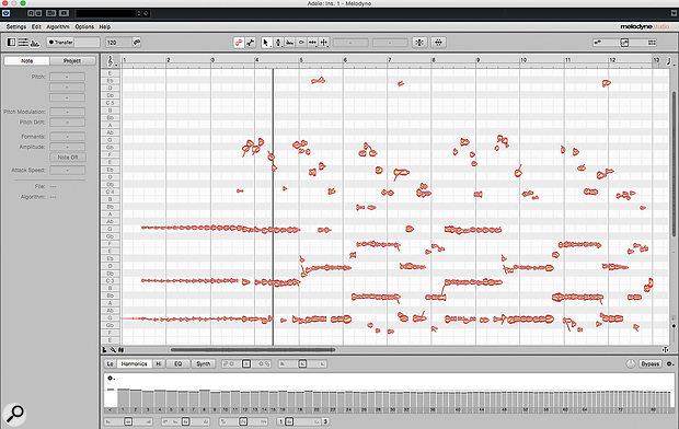 Melodyne's polyphonic algorithm applied to the first few bars of Adele's 'Rolling In The Deep'. Can you spot the note blobs for the vocal melody?