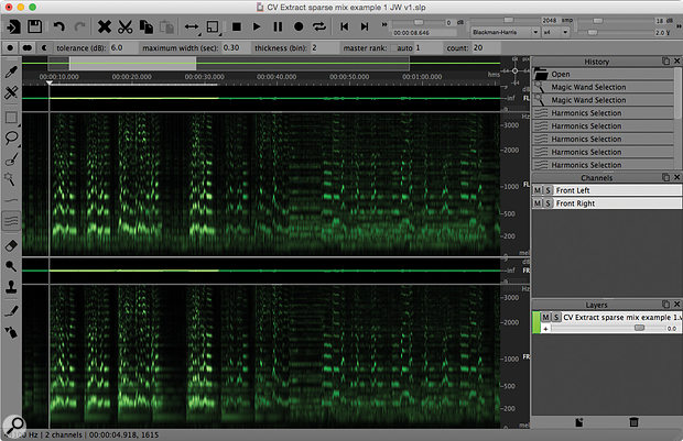 A section of my 'sparse' mix in SpectraLayers. The vocal melody and its various harmonics are clearly visible in the spectral display.