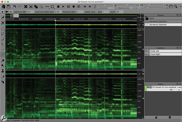 The 'full' mix in SpectraLayers: the vocal harmonics are still visible, but there's a  lot of other data in the display created by the fuller instrumentation, which potentially masks the vocals.