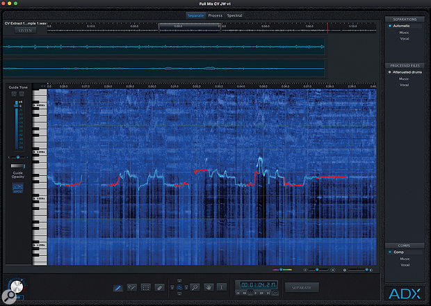 ADX Trax Pro in action. The software can perform an automatic separation of your vocal from the backing track (the results are shown in the two waveform displays at the top of the screen), but you can modify the pitch curve it generates (shown in blue/green in the main Spectral view) manually if required to try and improve the separation (my edits are shown in red).