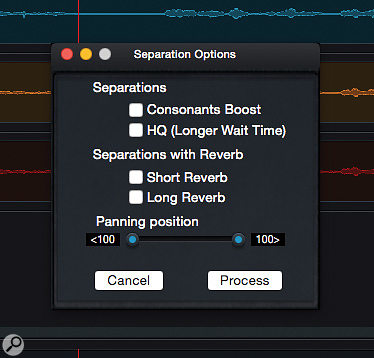 The ADX Trax Pro Process screen includes a  number of options you can explore to try and improve the first-pass vocal separation.