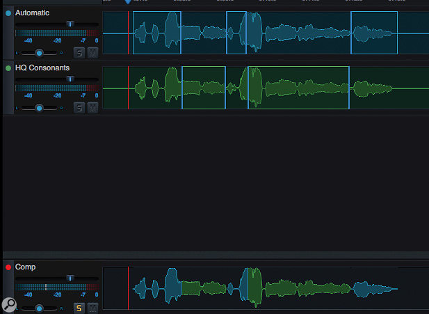 Once you've generated a  number of different vocal separations, you can create a  composite track based on the best sections from each separation attempt.