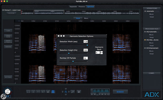 The Trax Pro spectral editor (shown here with the Harmonic Selection tool in use) automatically pastes material you cut from one track back into the other associated track: trim some piano away from the isolated vocal, and it will be returned to the instrumental track and vice versa, so the totality of the spectral data for the complete mix is always preserved between the two tracks.