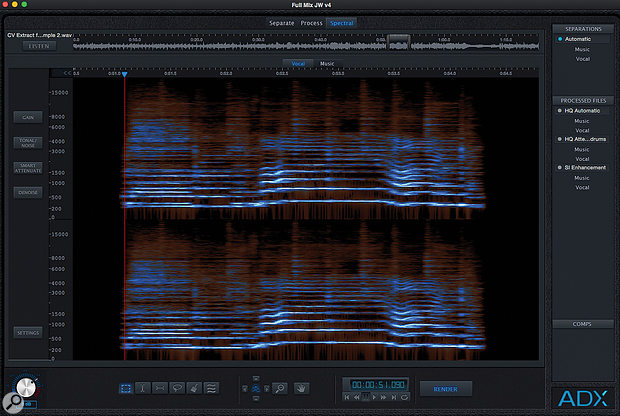 For my 'full' mix example, while the harmonics of the vocal melody are clear to see in the automatic separation performed by ADX Trax Pro, elements of the drums are also clearly visible in the form of vertical lines. These would require additional editing via the Process or Spectral screens to further clean the isolated vocal.
