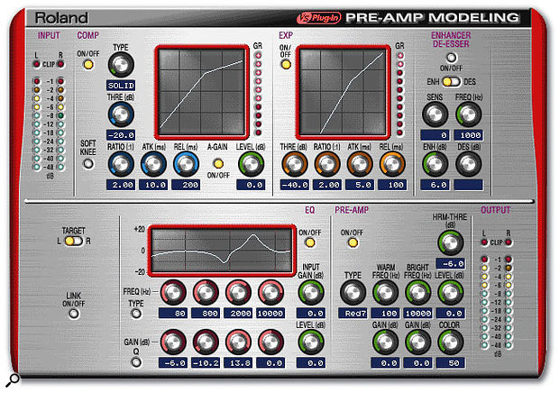 Preamp Modelling is probably the highlight of the Roland plug-ins, combining dynamics and EQ with a processor which models analogue preamp circuitry.