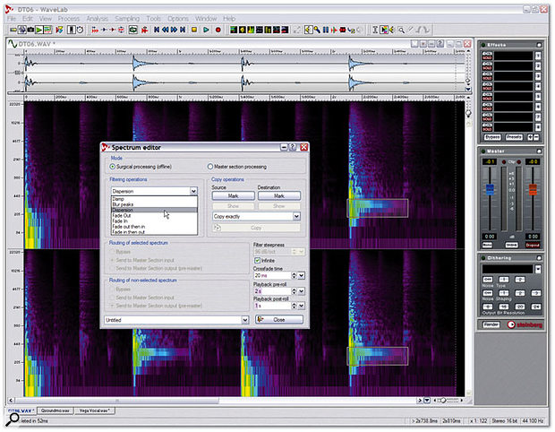 The Spectrum Editor lets you view audio files in spectrogram mode, draw round any region and edit it in lots of different ways that will prove invaluable to anyone trying to restore damaged or problem recordings.