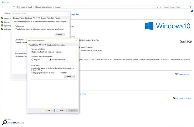 Setting Processor Scheduling to Background Services makes Windows prioritise things going on in the background over the main software applications that are in use — given that audio interface drivers are 'in the background' this can help eradicate problems!
