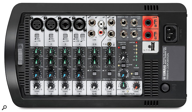 The included eight-input mixer provides power to the speakers, and includes an effects engine and anti-feedback filter.