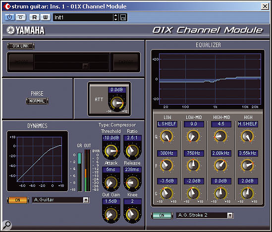 01X Channel Module provides a well specified dynamics and EQ plug-in for use within a suitable software host.